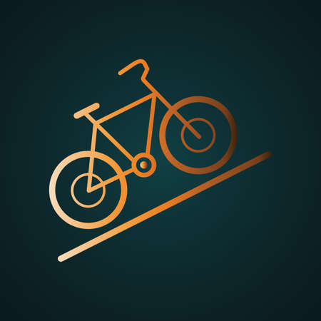 Bicycle for the off-road icon vector. Gradient gold concept with dark background