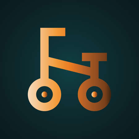 Bike icon vector logo. Gradient gold concept with dark background Ilustrace