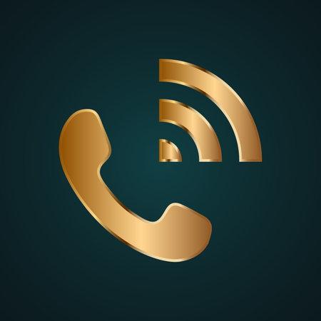 Call speaker icon vector logo. Gradient gold metal with dark background