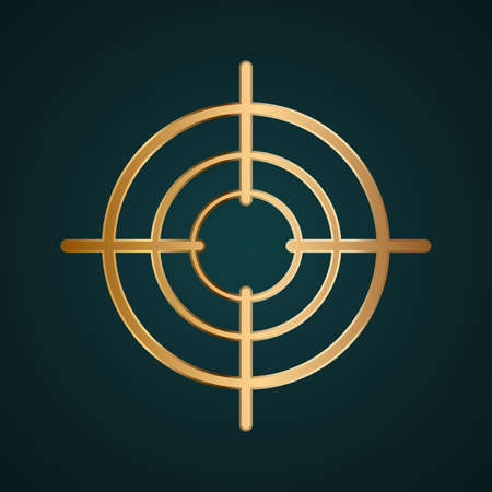 Round center tool icon vector. Gradient gold metal with dark background Иллюстрация