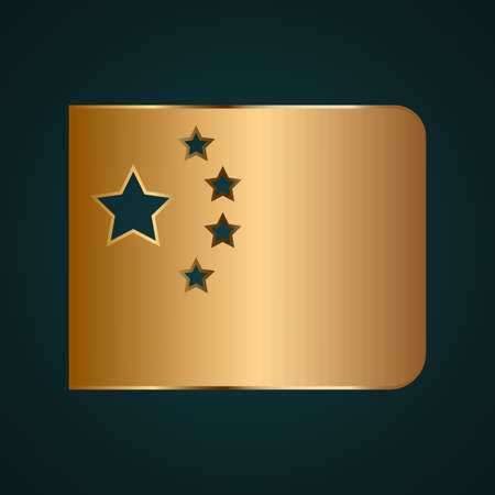 Chine flag icon vector logo. Gradient gold metal with dark background