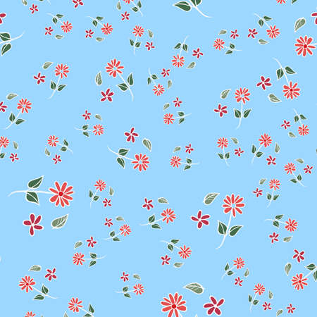 Blue red daisies ditsy seamless pattern. Great for summer vintage fabric, scrapbooking, wallpaper, giftwrap. Surface pattern design.