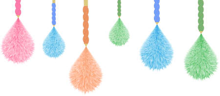 Colorful Decorative Hanging Pom poms. Horizontal Border Pattern. Great for handmade cards, invitations, wallpaper, packaging, nursery designs