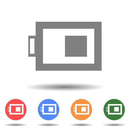 Half battery icon vector logo with a isolated background