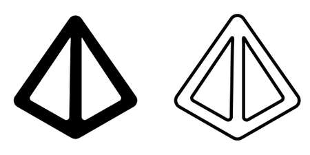 3d triangle pyramid icon vector isolated illustration, black and white version