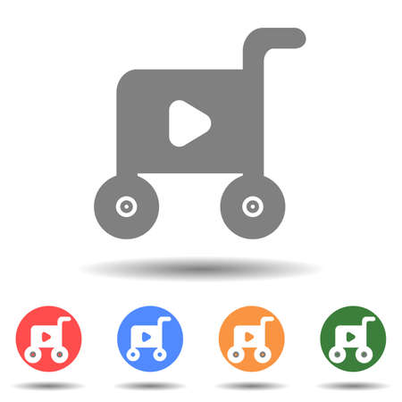 Cart with play button cart icon vector logo isolated on background