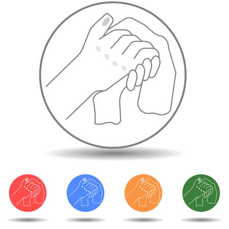 Person wiping and wiping his hands with a paper towel or napkin icon vector