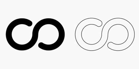 Infinity symbol icon vector isolated illustration, black and white version 向量圖像