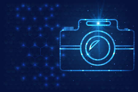 Professional camera in glow futuristic concept vector illustrator