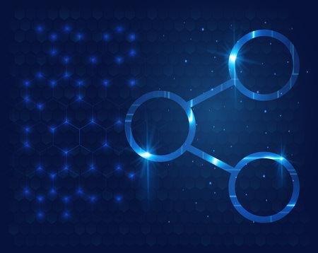 Futuristic molecules model background, atom vector