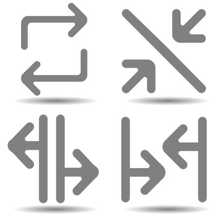 Arrow vector icon set in simple style