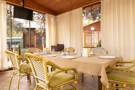 Modern restaurant banquet event room interior Editorial