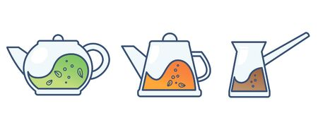 Teapot with tea and tea leaves. Vector illustration on white background 写真素材 - 129456576
