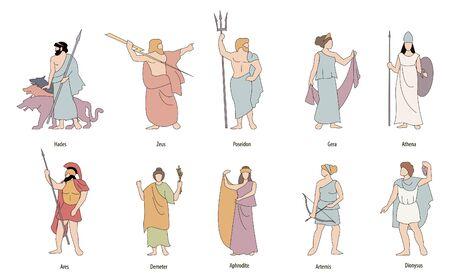 Vector illustration of the Greek gods