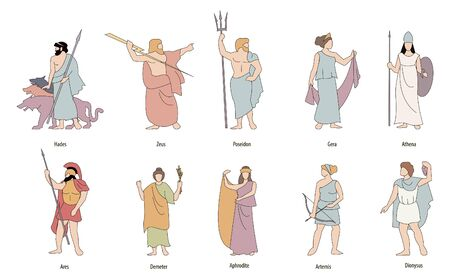 Vector illustration of the Greek gods