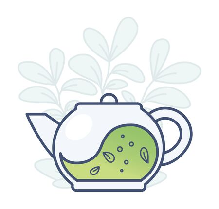 Teapot with tea and tea leaves. Vector illustration on white background