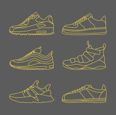 Sneaker Shoe Minimalistic Flat Line Outline Stroke Icon Pictogram Symbol Set Collection