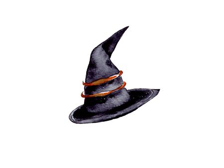 hand-drawn watercolor illustration. attributes and accessories for celebrating Halloween. Black witch hat.