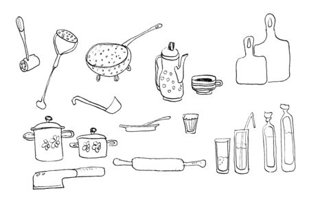 The illustration is hand-drawn. drawing in a black contour. Cooking accessories, kitchen accessories. Isolated 版權商用圖片