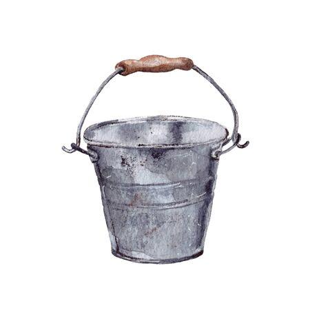 hand-drawn watercolor illustration. gardening supplies, tools. grey metal bucket. isolated