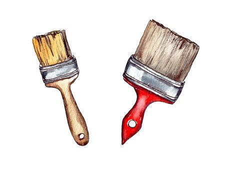 hand-drawn watercolor illustration. tools for repairing and painting the surface: a wide paint brush with a red handle and a small brush with a wooden handle. isolated 写真素材