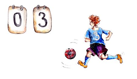 Hand-drawn watercolor illustration.Children's sport.Children play soccer.A boy soccer player in a blue uniform with a number runs for the ball.Metal signs inform about the score in the match.Isolated