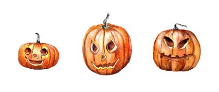 Hand-drawn watercolor illustration. Halloween, a set of yellow pumpkins to celebrate All Saints ' Day. Scarecrow for the interior. Isolated on a white background