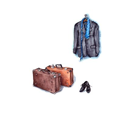 hand-drawn watercolor illustration:men's black jacket and blue tie on a hanger,men's black shoes and brown leather suitcases for travel.isolated on a white background