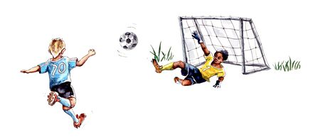 watercolor illustration.childrens football. Athlete Football Goalkeeper Blocking The Football . Football Match People Set Up A Competition. isolated on a white background
