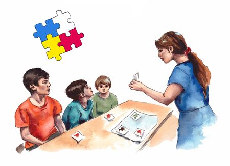 Illustration of childrens autism characters teachers classes with children with autism syndrome. isolated on a white background. Stockfoto