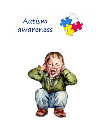 watercolor illustration of childrens autism. autism awareness day.the child screams sitting on the floor. isolated on a white background