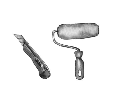 utility icons. Set of 9 utility outline icons such as paper towel, cutter, hummer and wrench, roller, ladder, wrench. Banque d'images