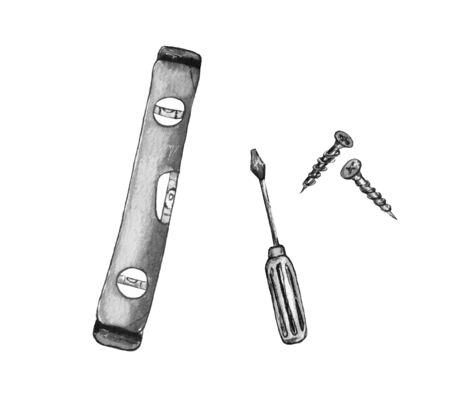 watercolor illustration of a black and white image of the repair tools.screwdrivers, screwdrivers and self-tapping screws. isolated on a white background.