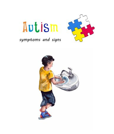 Watercolor illustration of the behavior of children with autism. An enthusiastic game with water.World autism awareness day.isolated on a white background.