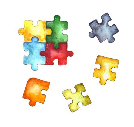 Watercolor illustration.children's puzzle paper puzzle, colorful puzzle pieces. Isolated on a white background. Фото со стока