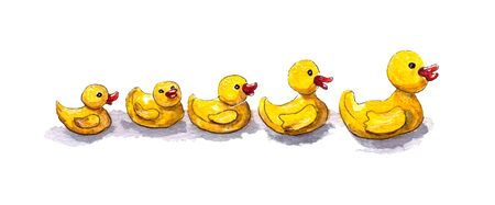 watercolor illustration of a set of yellow rubber bath ducks on a white background. isolated