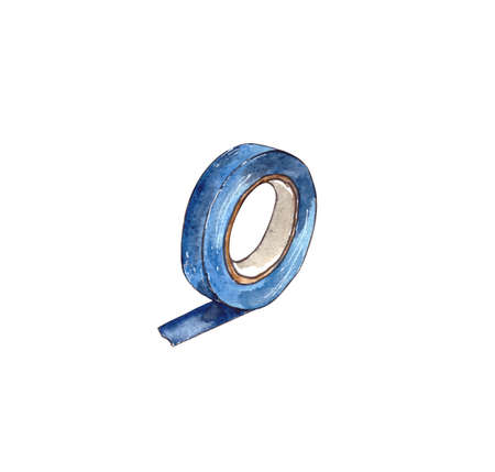 Watercolor illustration.tools for home repair on the inside, insulating tape. Isolated on a white background Stockfoto