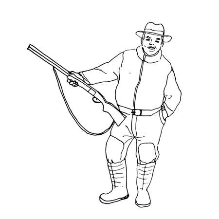 vector illustration. image in black outline of a young cheerful hunter in a hat boots and a gun in his hands. isolated on a white background