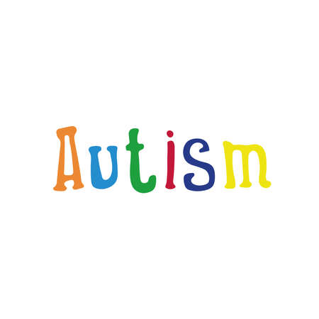 Vector illustration of the inscription Autism in multi-colored letters.Logo for world autism awareness day.World day of disabled people.Isolated on a white background