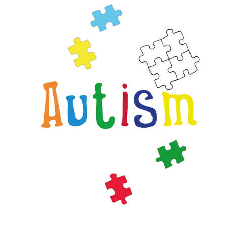 Vector illustration of the inscription Autism in multi-colored letters.Logo for world autism awareness day.World day of disabled people.Isolated on a white background Logo