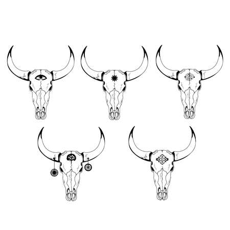 Vector illustration.Year Of The Bull 2021.Bull cow skull with symbols on the forehead and horns.Boho style.
