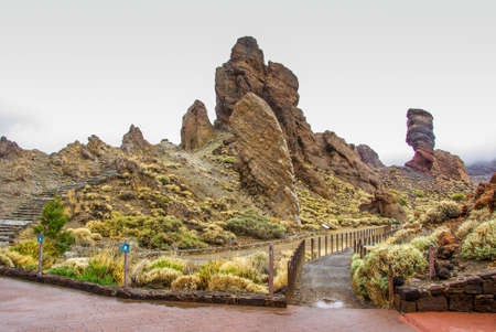 Rocky Landscape at the foot of Volcano El Teide in Tenerife, volcanic landscapes,.Copy Space for characters or letters.