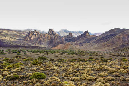 Desert Landscape at the foot of Volcano El Teide in Tenerife, volcanic landscapes,.Copy Space for characters or letters. 版權商用圖片