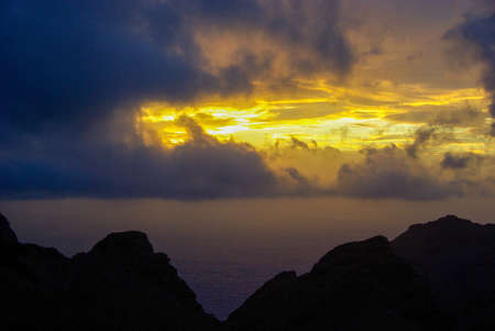 Sunset in the mountains of Tenerife, cloudy sky