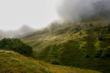 Foggy scenery in the French Pyrenees
