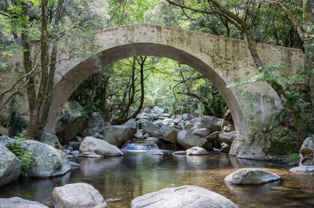 View of an old arched bridge on a river in Corsica, France
