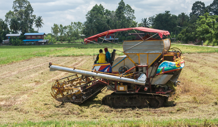 A tractor harvesting the crops, north of Thailand photo