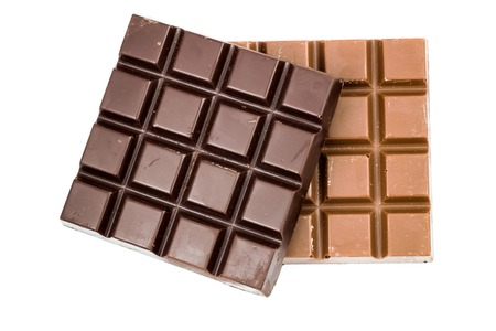 Natural black and milky chocolate bars isolated on white background, top view Stock Photo