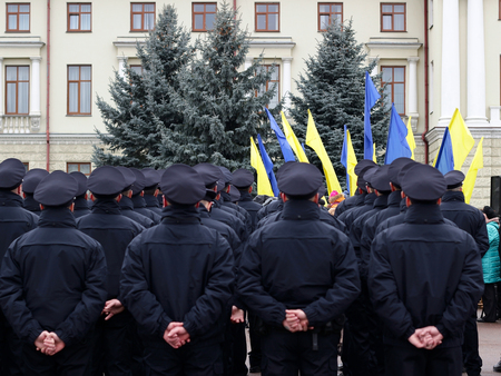 an oath: Ceremony of taking oath by the new patrol police in Khmelnytskyi, Ukraine police reform.