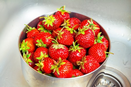 bowl sink: Bowl of ripe organic strawberry in the sink